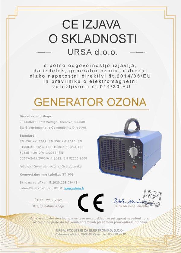 Izjava o skladnosti CE - Generator ozona